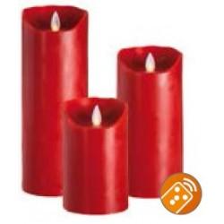 LED Echtwachskerzen Rot